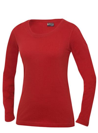 Carolina L/S Rood van Clique - Categorie T-shirts