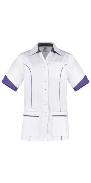 Haen Chanel damesjasje Wit met purple en lava contrast zorgkleding