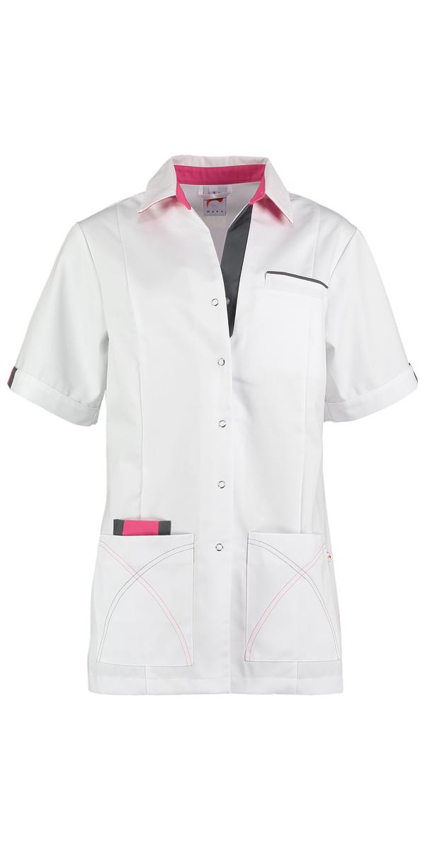 Haen Elien damesjasje Wit met shocking pink en lava contrast zorgkleding
