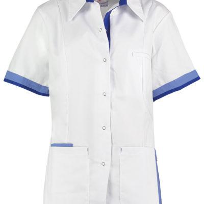 Haen Indy damesjasje Wit met metro blue en royal blue contrast zorgkleding