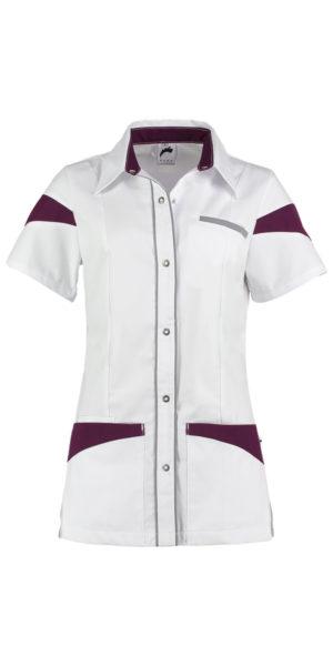 Haen Teuni damesjasje Wit met steel grey en purple passion contrast zorgkleding