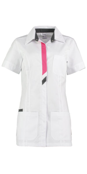 Haen Peggy damesjasje Wit met shocking pink en charcoal contrast zorgkleding