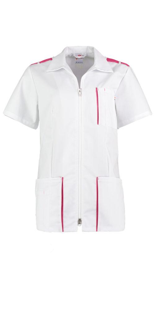 Haen Coco damesjasje Wit met schocking pink contrast zorgkleding
