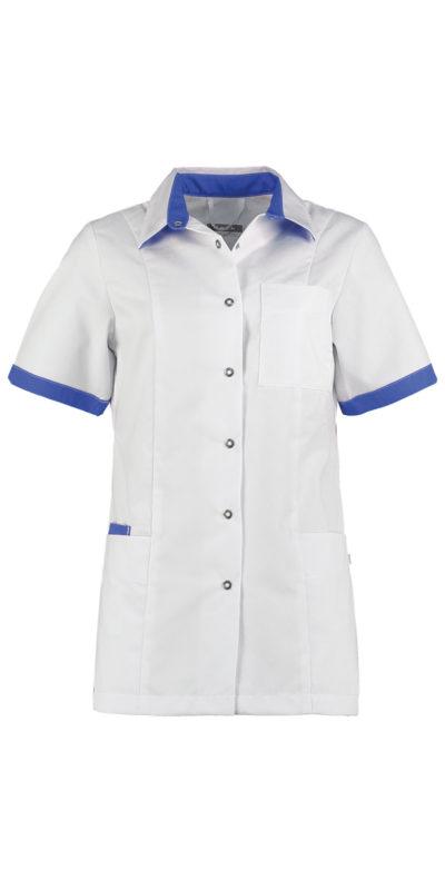 Haen Fijke damesjasje Wit met royal blue contrast zorgkleding