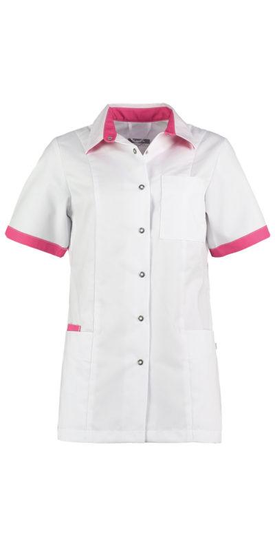 Haen Fijke damesjasje Wit met shocking pink contrast zorgkleding
