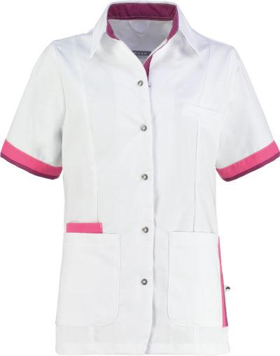 Haen Bente damesjasje Wit met magenta en shocking pink contrast zorgkleding