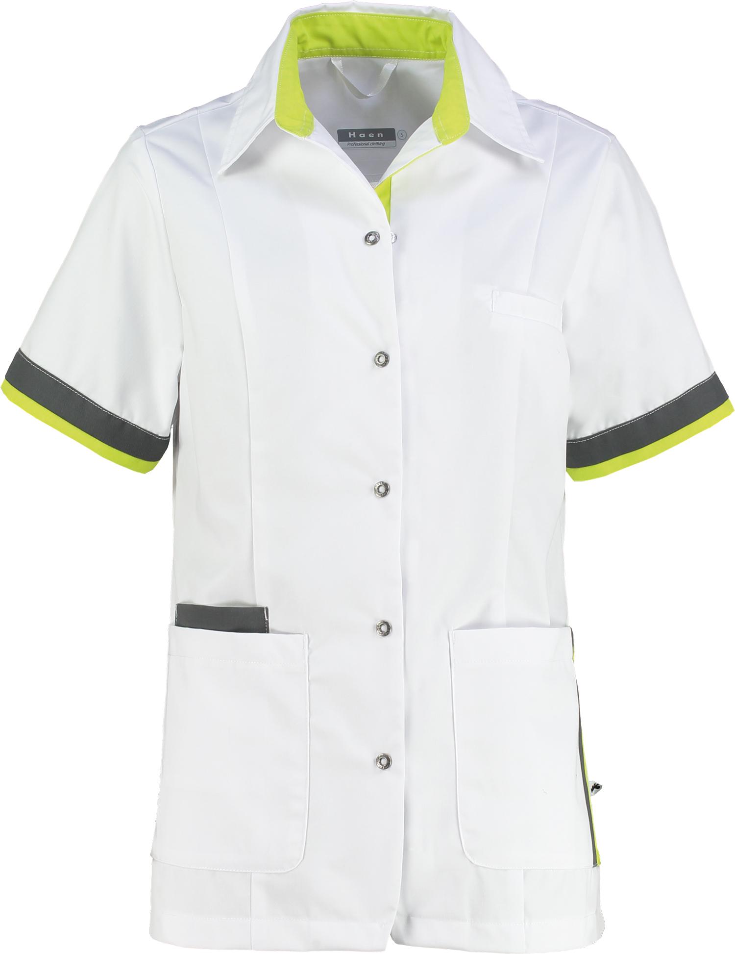 Haen Bente damesjasje Wit met sulfur yellow en charcoal contrast zorgkleding