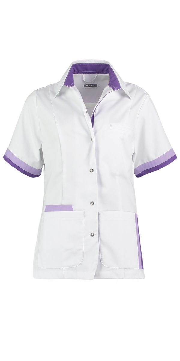 Haen Bente damesjasje Wit met lilac en petunia contrast zorgkleding
