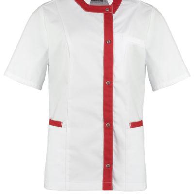 Haen Kirsty damesjasje Wit met dane red contrast zorgkleding