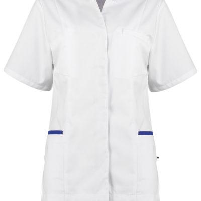 Haen Mandy damesjasje Wit met royal blue contrast zorgkleding