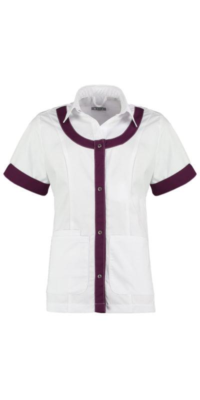 Haen Carlijn damesjasje Wit met purple passion contrast zorgkleding