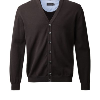 Clipper cardigan w/buttons Black