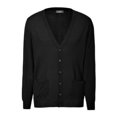 Clipper men's Merino cardigan Black