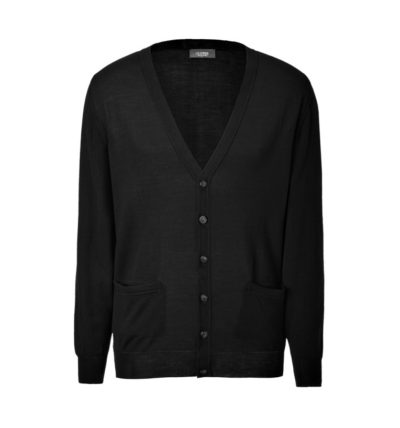 Clipper men's Merino cardigan Black
