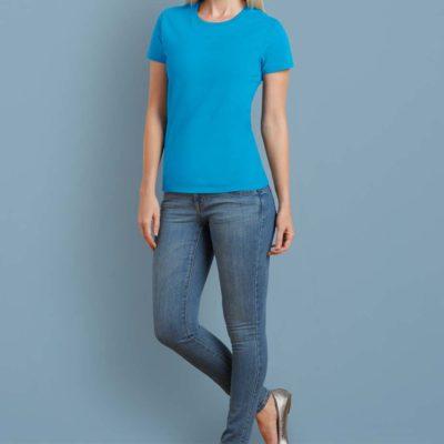 Gildan T-shirt Premium Katoen voor Dames 30 Wit