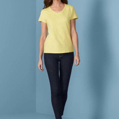 Gildan T-shirt Premium Katoen V-hals voor Dames 30 Wit