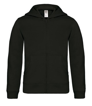 B&C Hooded Full Zip kids Black