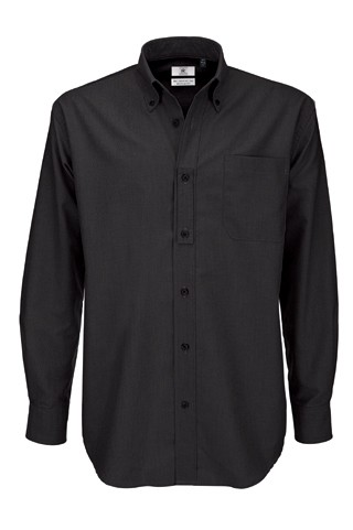 B&C Oxford LSL men Black