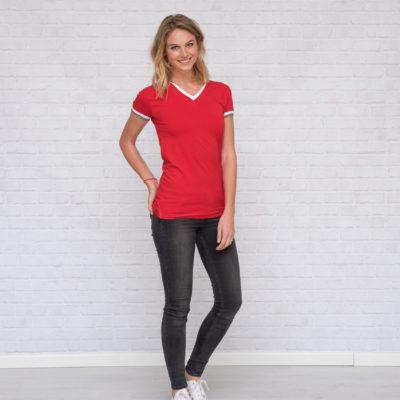 L&S T-shirt Dubbel-V cot/elast Korte mouw voor Dames Wit/DY