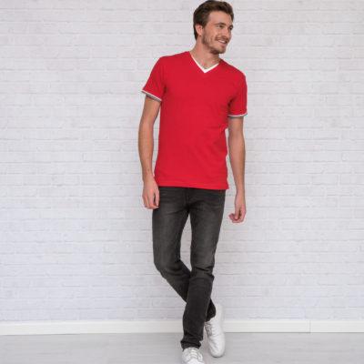 L&S T-shirt Dubbel-V cot/elast Korte mouw voor Heren Wit/DY