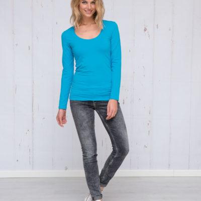 L&S T-shirt Ronde hals cot/elast Lange mouw voor Dames Wit
