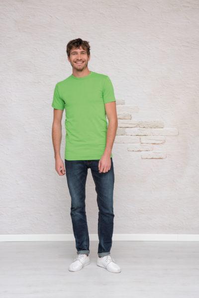 L&S T-shirt Ronde hals cot/elast Korte mouw voor Heren Wit