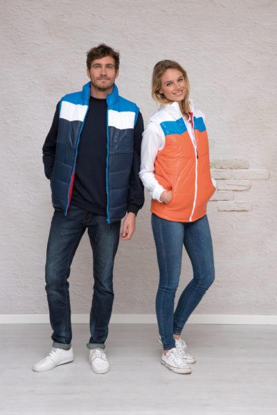 L&S Bodywarmer Contrast unisex Oranje/RB/WH
