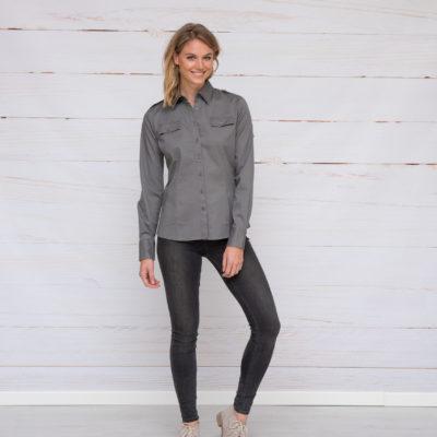 L&S Shirt Twill Lange mouw voor Dames Oranje