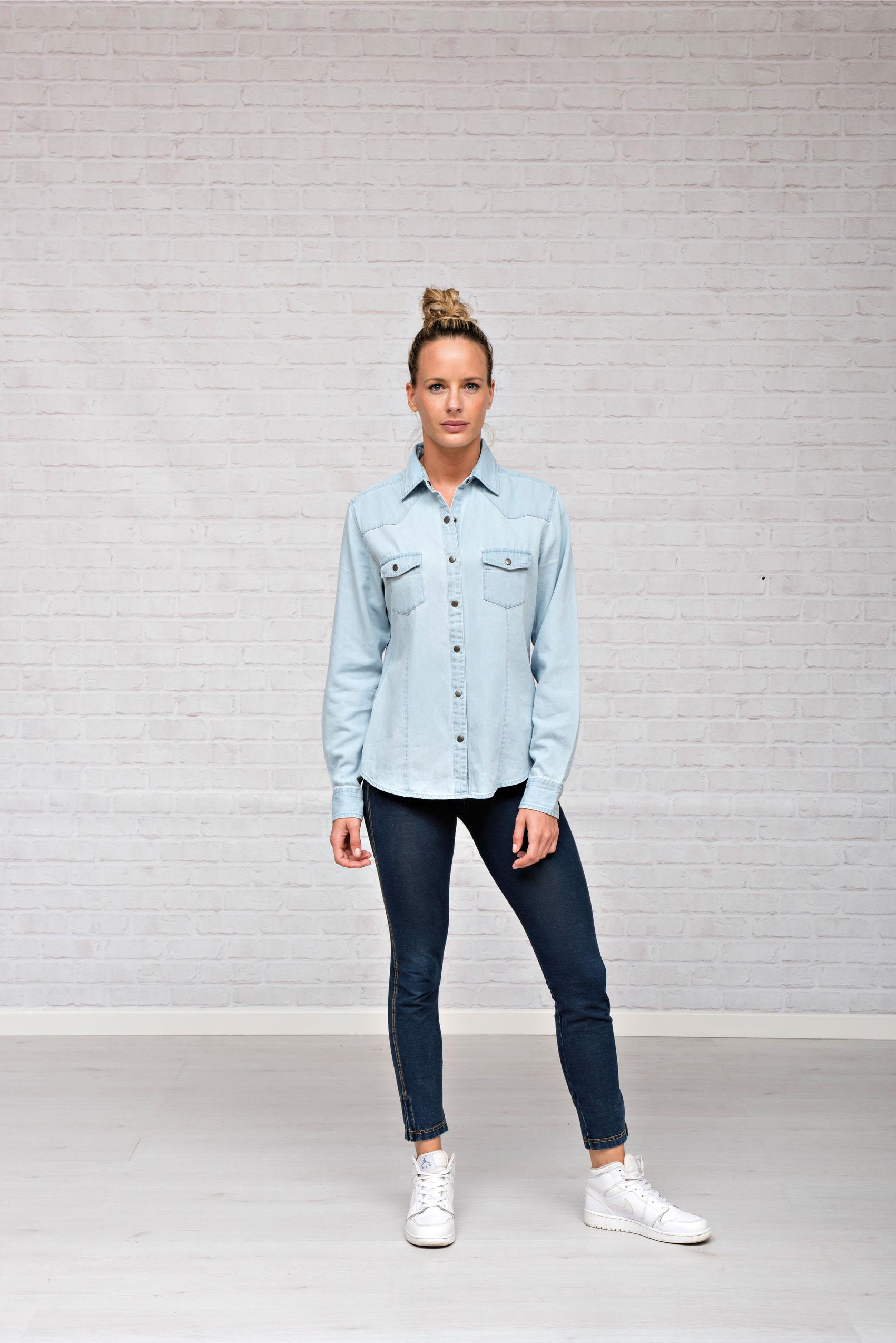 L&S Denim Shirt voor Dames Licht Blauw denim