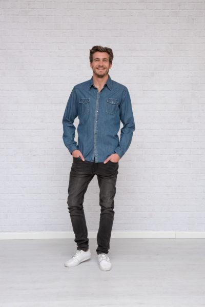 L&S Denim Shirt voor Heren Licht Blauw denim